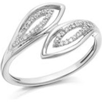 9ct White Gold Diamond Open Crossover Ring - 10pts - D7010-A