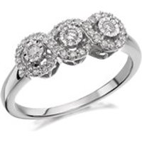 9ct White Gold Diamond Trilogy Cluster Ring - 1/4ct - D7106-P