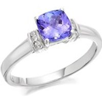 9ct White Gold Cushion Tanzanite And Diamond Ring - 6pts - EXCLUSIVE - D71104-Q