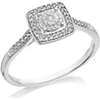 9ct White Gold Diamond Cushion Cluster Ring - 12pts - EXCLUSIVE - D71130-R
