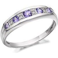 9ct White Gold Diamond And Tanzanite Half Eternity Ring - D7205-R