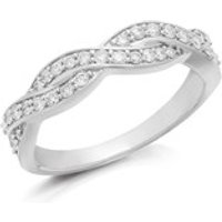 9ct White Gold Diamond Wave Band Ring - 1/3ct - D72108-S