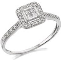9ct White Gold Princess Cut Diamond Cluster Ring - 20pts - EXCLUSIVE - D7212-M