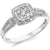 9ct White Gold Diamond Cluster Ring - 1/3ct - EXCLUSIVE - D7215-J
