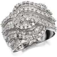 9ct White Gold 1 Carat Diamond Swirl Band Ring - D7260-L