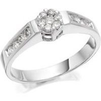 9ct White Gold Diamond Cluster Ring - 40pts - D7276-N