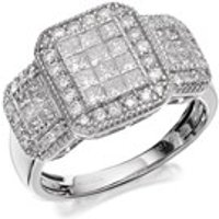 9ct White Gold 1 Carat Diamond Trio Cluster Ring - D7287-M