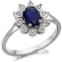 9ct White Gold Diamond And Sapphire Cluster Ring - 10pts - D7291-K