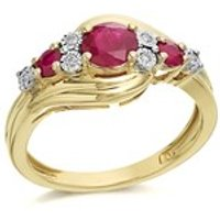 9ct Gold Ruby And Diamond Swirl Ring - D7309-N