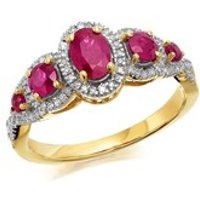9ct Gold Ruby And Diamond Ring - 18pts - D7311-S