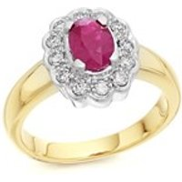 9ct Gold Ruby And Diamond Cluster Ring - 1/4ct - D7412-N