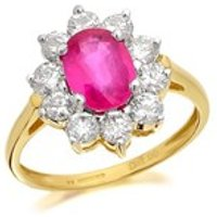 9ct Gold Ruby And 1 Carat Diamond Cluster Ring - D7425-O