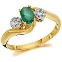 9ct Gold Diamond And Emerald Crossover Ring - 10pts - EXCLUSIVE - D7504-S