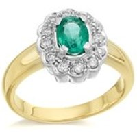9ct Gold Diamond And Emerald Cluster Ring - 1/4ct - D7607-O