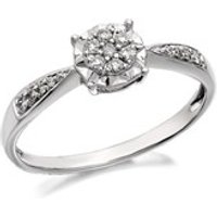 9ct White Gold Diamond Cluster Ring - 15pts - EXCLUSIVE - D7730-M