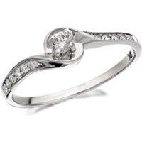 9ct White Gold Diamond Twist Ring - 20pts - D7732-Q