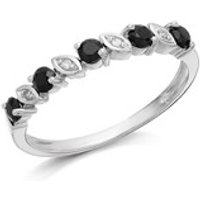 9ct White Gold Sapphire And Diamond Half Eternity Ring - D7785-N