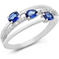 9ct White Gold Sapphire And Diamond Split Band Ring - 10pts - D7786-N