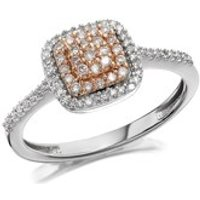 9ct Gold Two Colour One In A Million Pink Diamond Cluster Ring - 1/4ct - D7805-O