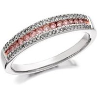 9ct Gold Two Colour One In A Million Pink Diamond Band Ring - 1/3ct - D7875-O