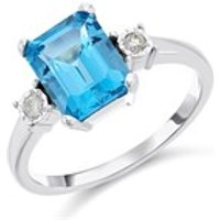 9ct White Gold Blue Topaz And Diamond Trilogy Ring - 6pts - D7921-M
