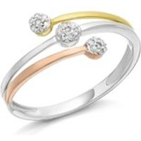 9ct Gold Three Colour Diamond Crossover Band Ring - 7pts - D7927-Q