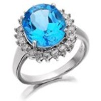 9ct White Gold Diamond And Blue Topaz Cluster Ring - 1/2ct - D7959-K