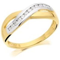 9ct Gold Two Colour Diamond Crossover Half Eternity Ring - 15pts - D8076-Q