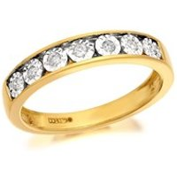 9ct Gold Diamond Half Eternity Ring - 10pts - D8085-S