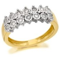 9ct Two Colour Gold Two Row Diamond Band Ring - 15pts - D8086-N