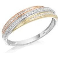 9ct Gold Three Colour Diamond Band Ring - 15pts - D8099-R