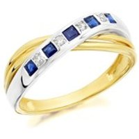 9ct Gold Two Colour Sapphire And Diamond Crossover Ring- EXCLUSIVE - D8103-M