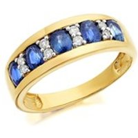 9ct Gold Sapphire And Diamond Band Ring - 10pts- EXCLUSIVE - D8105-P
