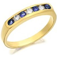 9ct Gold Diamond And Sapphire Half Eternity Ring - 20pts - D8112-K