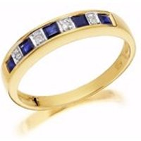 9ct Gold Diamond And Sapphire Half Eternity Ring - D8125-P