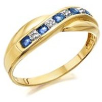 9ct Gold Sapphire And Diamond Crossover Half Eternity Ring - D8141-M