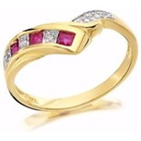 9ct Gold Diamond And Ruby Wishbone Ring - EXCLUSIVE - D8208-P
