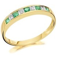 9ct Gold Diamond And Emerald Half Eternity Ring - D8221-O