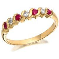 9ct Gold Diamond And Ruby Wave Ring - 11pts - D8223-J