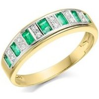 9ct Gold Diamond And Emerald Band Ring - D8236-R
