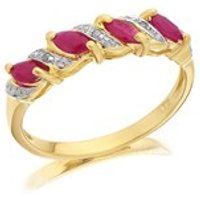 9ct Gold Diamond And Ruby Ring - D8239-N