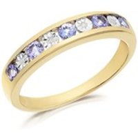 9ct Gold Tanzanite And Diamond Half Eternity Ring - D8308-S