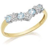 9ct Gold Blue Topaz And Diamond Wishbone Ring - D8311-P