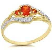 9ct Gold Fire Opal And Diamond Crossover Ring - D8407-Q