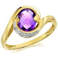9ct Gold Amethyst And Diamond Ring - D8412-R