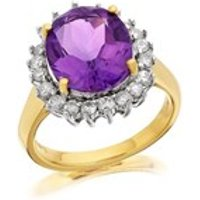 9ct Gold 4.1ct Amethyst And 1/2ct Diamond Cluster Ring - D8432-P