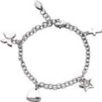 D For Diamond Silver Diamond Set Children's Charm Bracelet - D8523