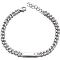D For Diamond Silver Diamond Set Children's ID Bracelet - D8524