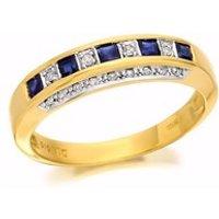 9ct Gold Diamond And Sapphire Half Eternity Ring - 10pts - D8842-Q