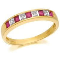 9ct Gold Diamond And Ruby Half Eternity Ring - D8843-P